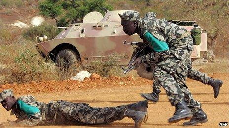 Soldiers from Mali - part of a West African standby force during military manoeuvres in Senegal in 2007