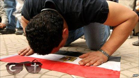 An anti-government demonstrator in Tahrir Square, 6 February