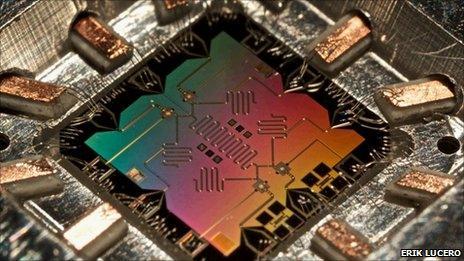 Four-qubit quantum device (E Lucero)
