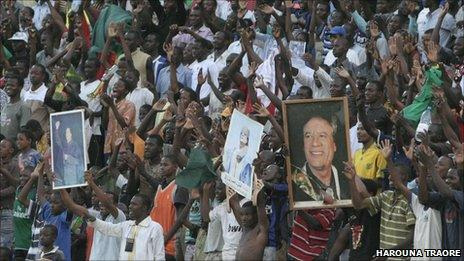 Crowds at the Bamako stadium on 28 March 2011