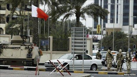 GCC troops guard an entrance to Salmaniya Hospital in Manama (March 2011)