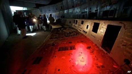 Remains of the control room for Reactor 4 at Chernobyl nuclear power plant in Ukraine, 24 Feb, 2011