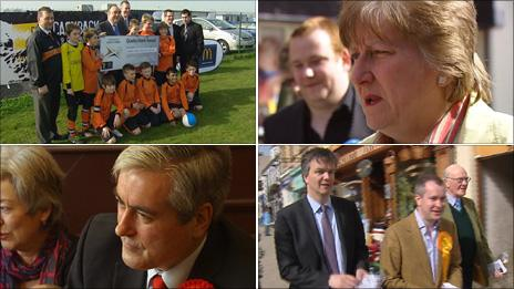 clockwise from top left Alex Salmond and football team, Annabel Goldie, Iain Gray, Michael Moore, Jeremy Purvis and Menzies Campbell