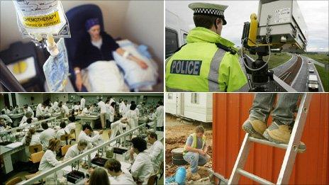 Chemotherapy treatment, a police officer, a microbiology lesson and workers on a construction site