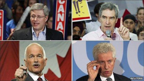 A composite image of the Canadian party leaders