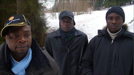 (Left to right) Fofana Baleymory, Benjamin N'Guessan and Frederic Karangwa - African asylum seekers in Russia