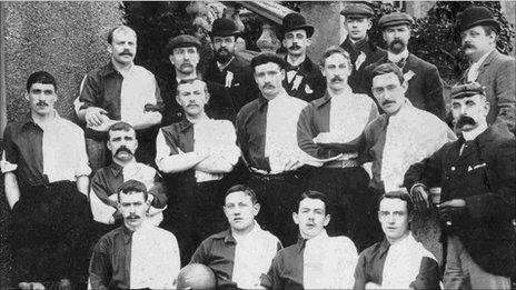 Chirk FC, pictured in 1894 (Billy Meredith is middle left). Courtesy of The History of Chirk F.C. 1876 - 2002 by Nigel Roberts.