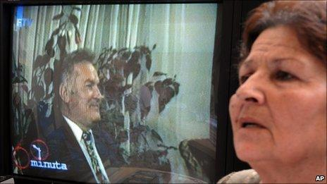 Srebrenica survivor Kada Hotic watches a video of Gen Ratko Mladic (June 2009)