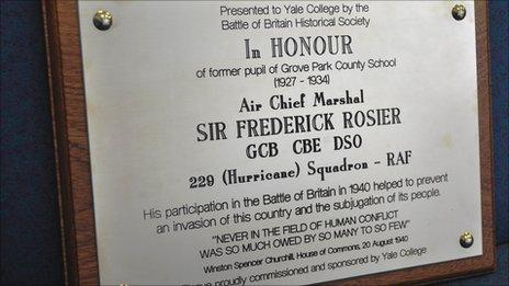 Yale College plaque honouring Sir Frederick Rosier