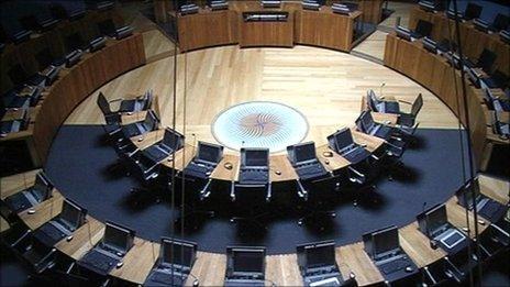 An empty debating chamber at the Senedd