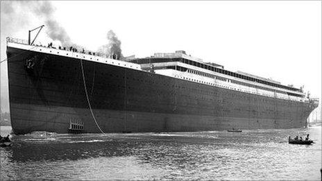 The Titanic when she was launched 100 years ago before her iconic four funnels were fitted