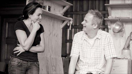 Samantha Spiro rehearsing Chicken Soup with Barley woth director Dominic Cooke (photo Johan Persson)