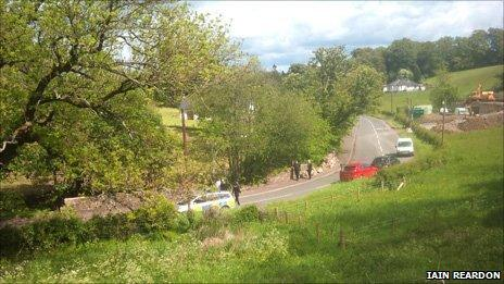 Police car at the scene where the body was found, picture courtesy of Iain Reardon