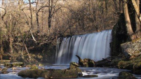 Waterfall at Pontneddfechan, Neath. Pic: Lyndon Ellis