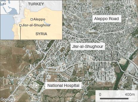 Map of Jisr al-Shughour