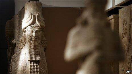 A statue inside the Assyrian Hall of the Iraqi National Museum