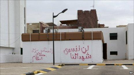 Graffiti in Arabic reading: 'We will not forget the martyrs, the people want the fall of the regime' on a wall in Tripoli (21 February 2011)