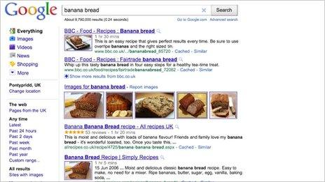 Screengrab of search results for banana bread