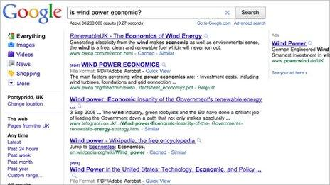 Google search results for 'Is wind power economic?'