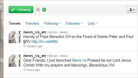 Pope's first tweet