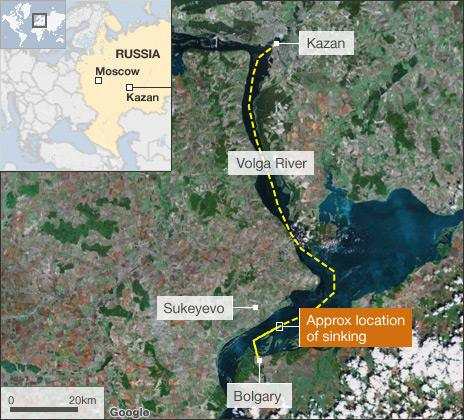 Map showing location of boat disaster