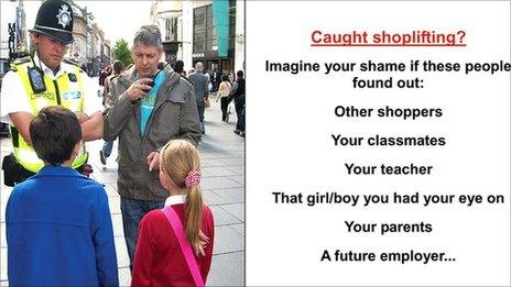 Poster to warn schoolchildren against shoplifting during holidays