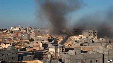 Smoke rises above the Libyan town of Nalut
