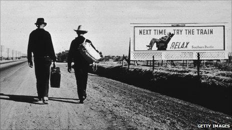 Two men walking towards Los Angeles