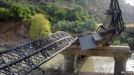 A bridge destroyed by Turkish military action in Dohuk, northern Iraq, 20 August