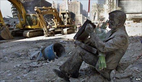 Statue in the rubble of the WTC