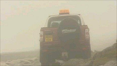 The vehicle on Snowdon, as bad weather closed in on Monday