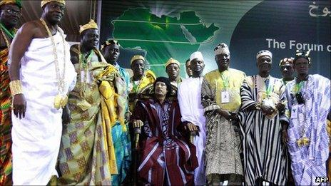 Col Muammar Gaddafi with African traditional leaders (August 2008)