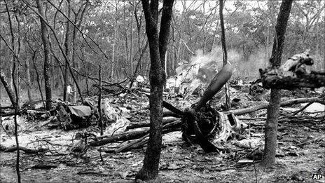 The crash site of Dag Hammarskjold DC6 plane