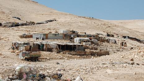 Wide shot of Bedouin camp near Maale Adumim