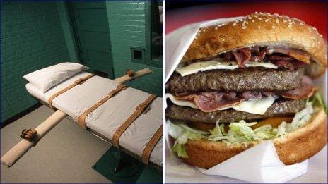 Death chamber photo courtesy of Getty, Hamburger photo courtesy of Reuters