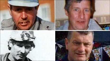 Y pedwar a fu farw oedd Charles Breslin, Phillip Hill (top) a Garry Jenkins a David Powell (gwaelod o'r chwith i'r dde)