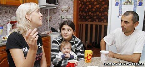 From left to right: Yuliya, Irina with her brother and Irina's biological father