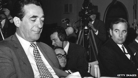Robert Maxwell and Rupert Murdoch during voting on the takeover of the News of the World in 1969