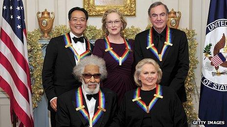 Clockwise from top left: Yo-Yo Ma, Meryl Streep, Neil Diamond, Barbara Cook and Sonny Rollins