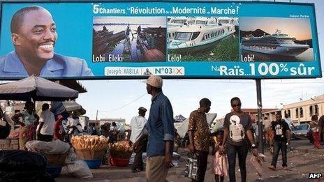 A giant poster showing Democratic Republic of the Congo's President Joseph Kabila, 7 November 2011