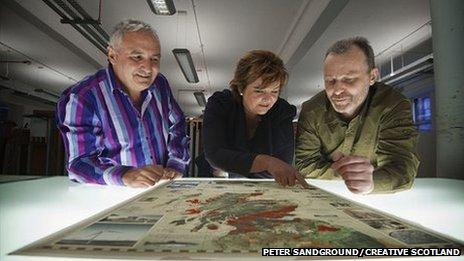 Andrew Dixon from Creative Scotland with Culture Secretary Fiona Hyslop and artist Murray Robertson