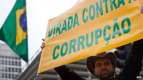 A demonstrator holds a sign during the demonstration against corruption in Sao Paulo, Brazil on 15 November, 2011