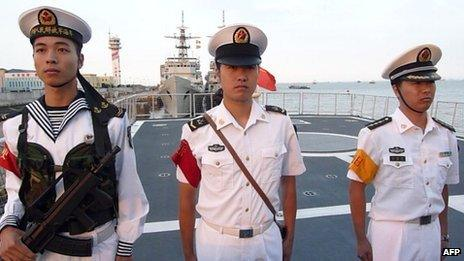 File image of Chinese sailors on board a frigate on 22 September 2011