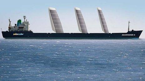 Proposed solar sail installation on an Australian mining company bulk carrier
