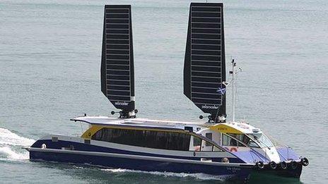 Solar Albatross in Hong Kong with solar sails raised
