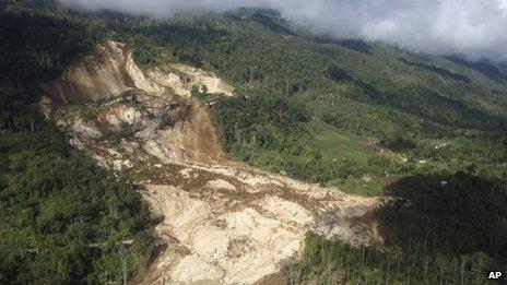 Aerial view of landslide on 24 January 2012