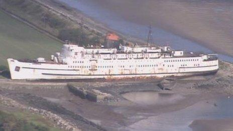 An aerial view of the Duke of Lancaster at Mostyn, Flintshire