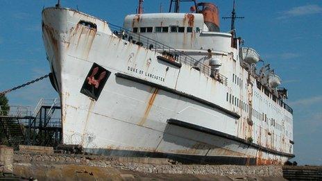 Duke of Lancaster ship at Mostyn, Flintshire