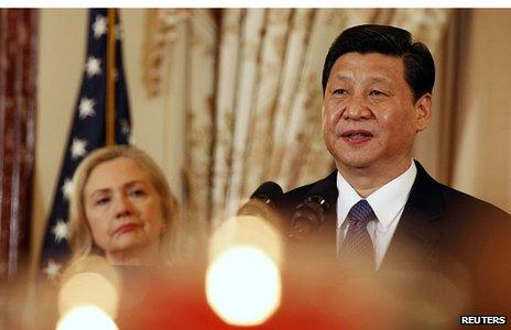Xi Jinping at the state department with Hillary Clinton, 14 February 2012