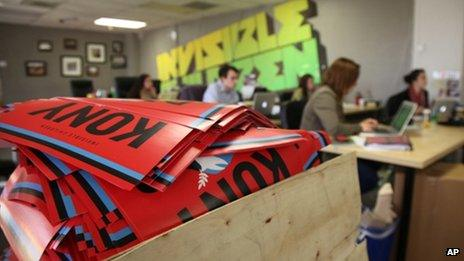 A box full to the brim with KONY 2012 campaign posters at Invisible Children's HQ